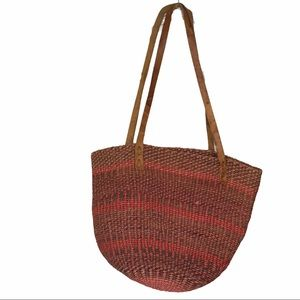 Straw Shopper Leather Pink Tone Back Vintage Purse